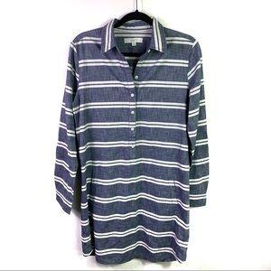 NWOT LOFT Striped Chambray Shirt Dress